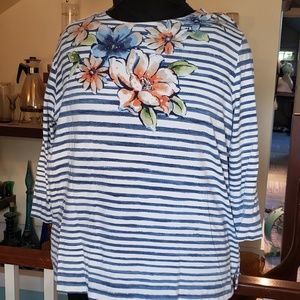 Alfred Dunner Watercolor floral and striped top